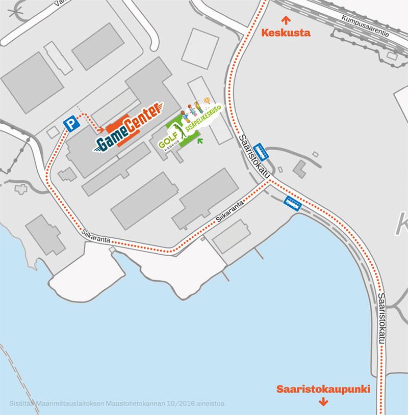 GameCenter Laserpelikeskus kartta ajo-ohje